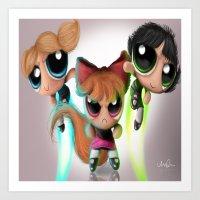 powerpuff girls Art Prints featuring Powerpuff Girls by A.D.A. Apparel
