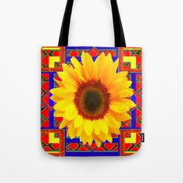 WESTERN BLUE-RED YELLOW SUNFLOWER FLORAL ART Tote Bag