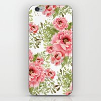 craftberrybush iPhone & iPod Skins featuring watercolor bouquet  by craftberrybush