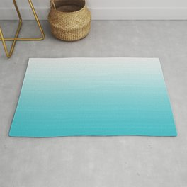 White to Robins Egg Blue Painted appearance gradient ombre Rug