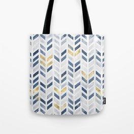 Herringbone chevron pattern. Indigo gold acrylic on canvas Tote Bag