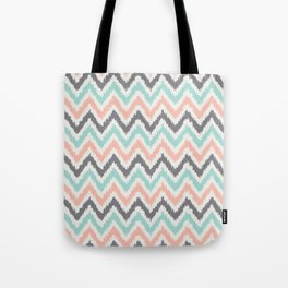 Mint Gray Coral Zigzag Pattern Tote Bag