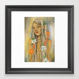 Girl with Flowers Framed Art Print