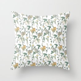 Spring Garden -white Throw Pillow