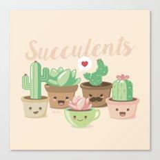 Kawaii Succulents Canvas Print