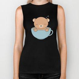 Kawaii Cute Coffee Brown Bear Biker Tank