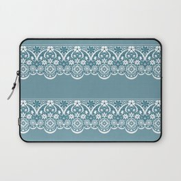 Blue lace fabric. Graphic design. Laptop Sleeve