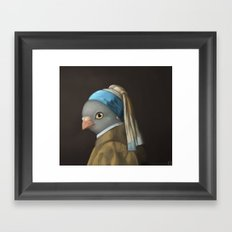 The Pigeon with the Pearl Earring Framed Art Print