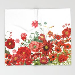 Vintage & Shabby Chic - Red Summer Flower Garden Throw Blanket
