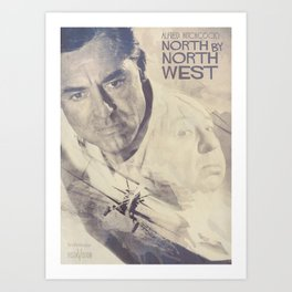 North by Northwest, Alfred Hitchcock, vintage movie poster, Cary Grant, minimalist Art Print