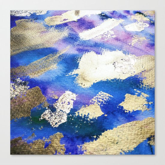Gold Ocean Abstract Modern Design Canvas Print