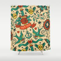 tattoos Shower Curtains featuring Tattoos by Illuminany