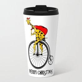 Giraffe on a bike Santa Claus Travel Mug