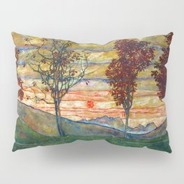 Four Trees with Red Leaves at Sunrise landscape painting by Egon Schiele Pillow Sham