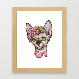 Hand drawn portrait of cute Sphinx cat with a wreath on head Framed Art Print