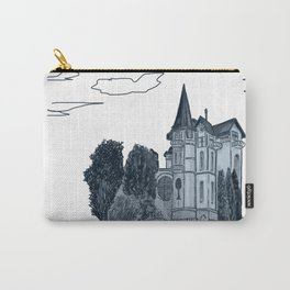 house with a turret and trees Carry-All Pouch