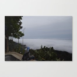 Moonfire Temple in Fog One Canvas Print