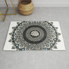 Black and White Flower Mandala with Blue Jewels Rug