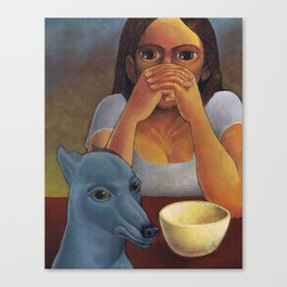 A Girl and Her Dog Canvas Print