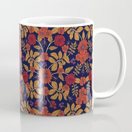 Fall/Autumn Floral Pattern with Purple, Orange & Red Coffee Mug
