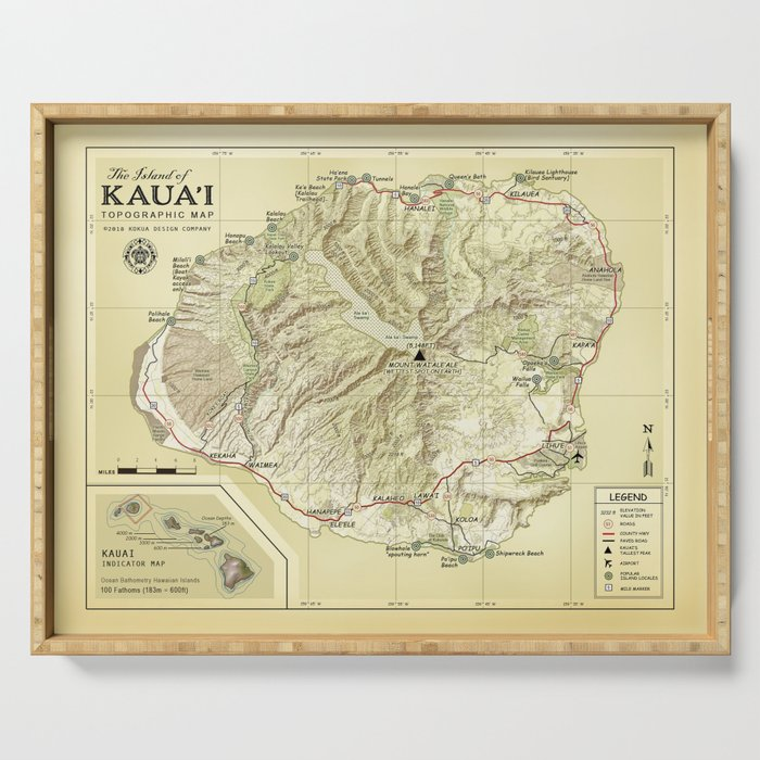 The Island Of Kauai Vintage Inspired Topographic Map Serving Tray