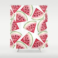 vegetarian Shower Curtains featuring Watermelon pattern by Julia Badeeva