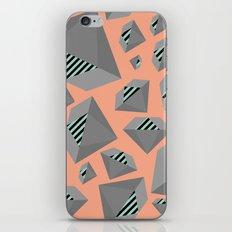 Mint and Gray Diamond on Peach iPhone & iPod Skin