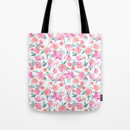 Watercolor Floral - pink/orange Tote Bag