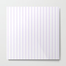 Mattress Ticking Wide Striped Pattern in Lilac and White Metal Print