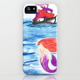 The mermaid and the pirate boat iPhone Case