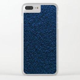 Dark Blue Fleecy Material Texture Clear iPhone Case