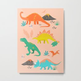 Jurassic Dinosaurs on Peach Metal Print