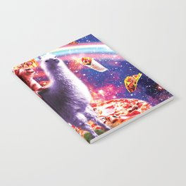 Laser Eyes Outer Space Cat Riding On Llama Unicorn Notebook