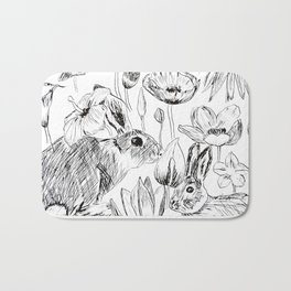 rabbits and flowers parties Bath Mat
