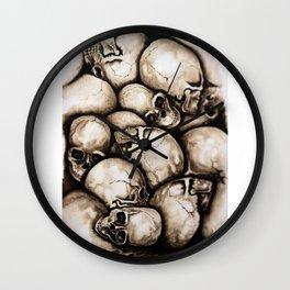 Skulls sepia Wall Clock