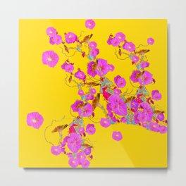 Pink Morning Glories on Gold Art Design Metal Print
