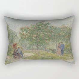 Garden with Courting Couples: Square Saint-Pierre Rectangular Pillow