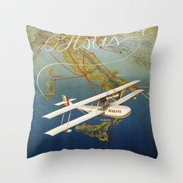 Vintage 1920s Island plane shuttle Italian travel Throw Pillow