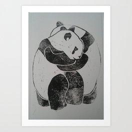 Panda Hugs Lino Print Art Print