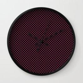Black and Raspberry Radiance Polka Dots Wall Clock