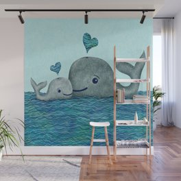 Whale Mom and Baby with Hearts in Gray and Turquoise Wall Mural