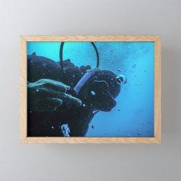 Scuba diver flipping off underwater, Middle finger Underwater Framed Mini Art Print