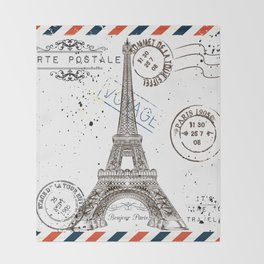 Art hand drawn design with Eifel tower. Old postcard style Throw Blanket