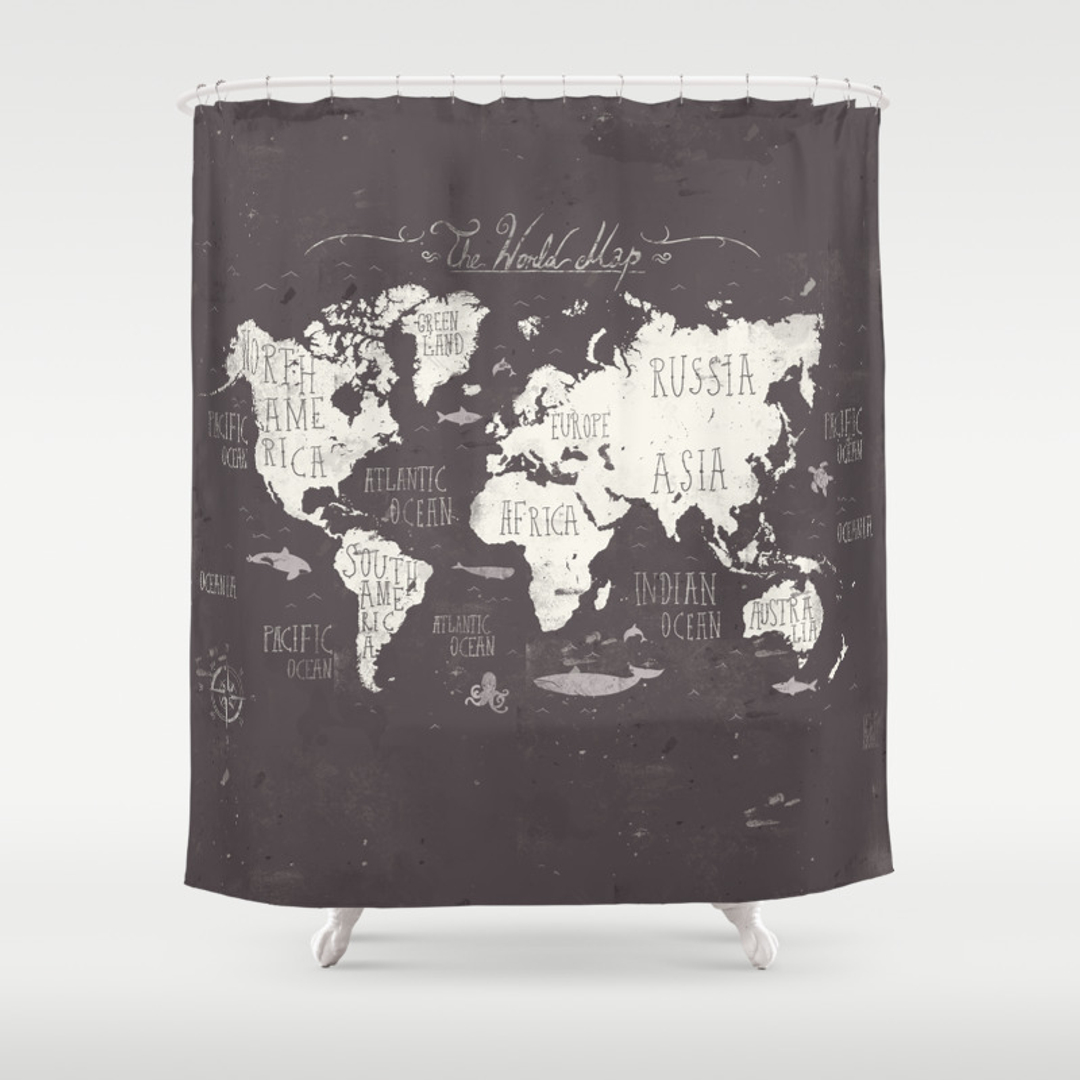 Treasure map shower curtain - Black And White World Map Shower Curtain Black And White World Map Shower Curtain 17