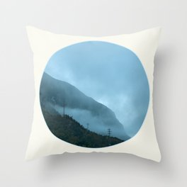 Blue Misty Mountains Throw Pillow
