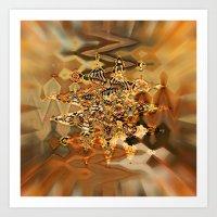 Golden Retro Shimmer Chandelier Art Print