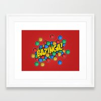 bazinga Framed Art Prints featuring Bazinga! by Skeleton Jack