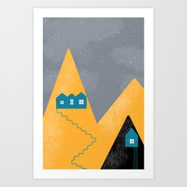 Golden mountains Art Print
