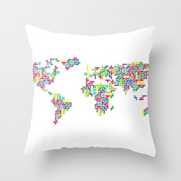 Tetris world (white one) Throw Pillow