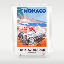 1936 Monaco Grand Prix Race Poster  Shower Curtain